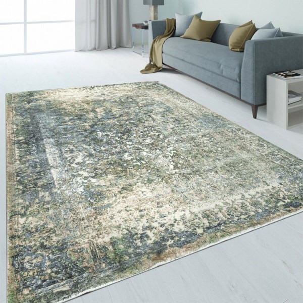 Design Teppich Bordüre Used-Look Beige
