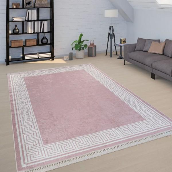 Wohnzimmer Teppich Rosa Pink Bordüre Mäander Muster Weich Robust Kurzflor