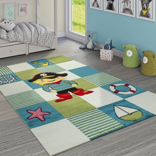 Moderner Kinderzimmer Teppich Im Piraten Look Mit Karo Muster In Blau Grün Weiss