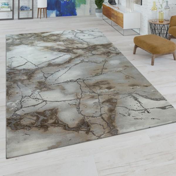 Kurzflor Teppich Wohnzimmer Grau Beige Creme Marmor Design Strapazierfähig