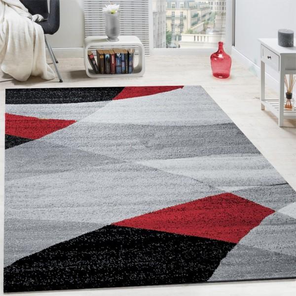 Designer Teppich Modern Geschwungene Wellen Linien Muster Kurzflor Meliert Rot