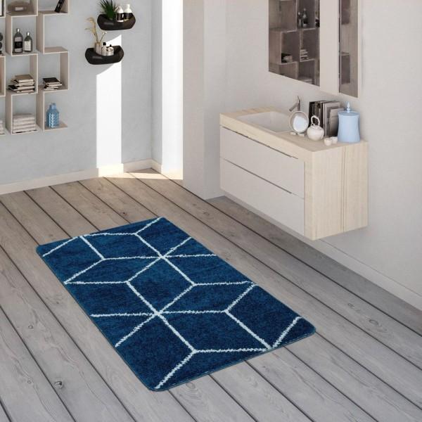 Badematte, Kurzflor-Teppich Für Badezimmer Mit Rauten-Muster In Blau Weiß