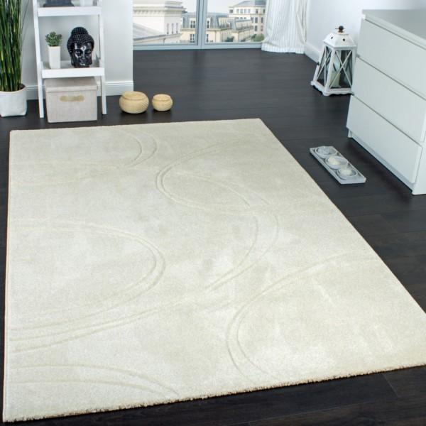Teppich Einfarbig Designerteppich mit Handgearbeiteten Konturen Creme Elfenbein