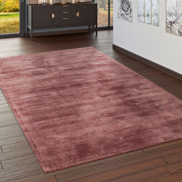 Teppich Handgefertigt Hochwertig 100% Viskose Vintage Optisch Meliert Blush Rosa