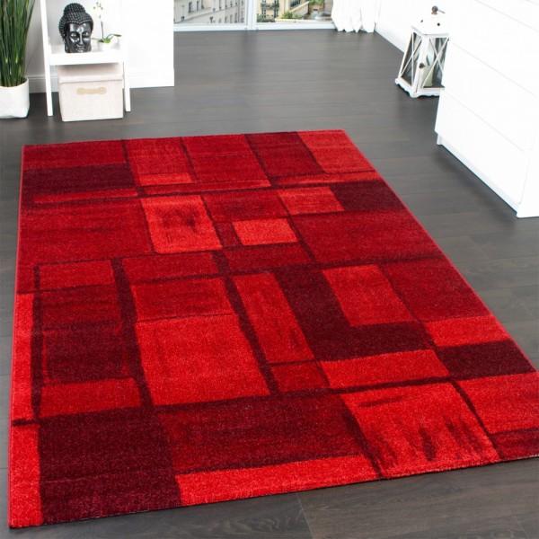 Velours Kurzflor Teppich - Winchester - Tepich Modern Karo Muster in Rot