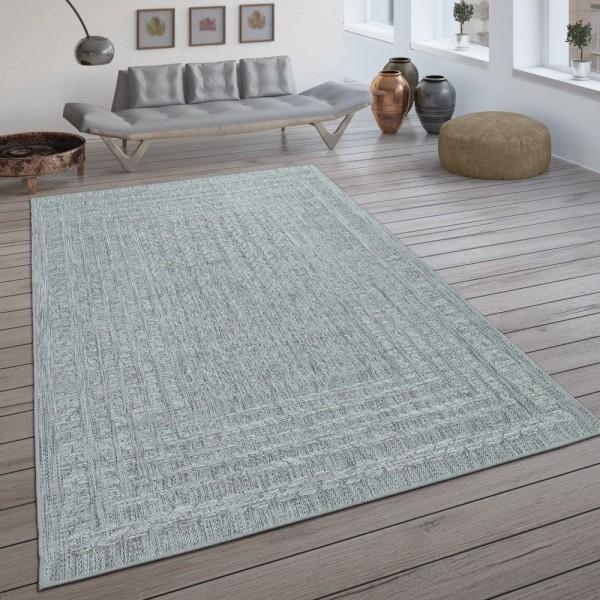 In- & Outdoor-Teppich, Flachgewebe Mit Skandi-Design Und Sisal-Optik In Hellgrau