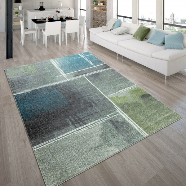Designer-Teppich, Kurzflor-Teppich Mit Viereck-Muster Farbverlauf, In Bunt