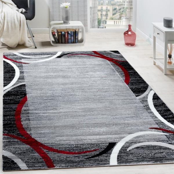 Wohnzimmer Teppich Bordüre Kurzflor Meliert Modern Hochwertig Grau Schwarz Rot