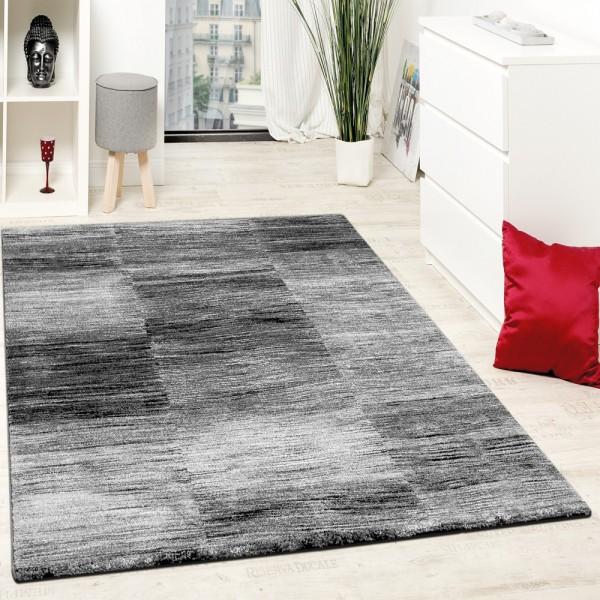 Designer Teppich Modern Wohnzimmer Teppiche Kurzflor Karo Meliert Grau Schwarz
