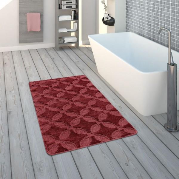 Badematte, Kurzflor-Teppich Für Badezimmer Einfarbig Rutschfest, In Rot