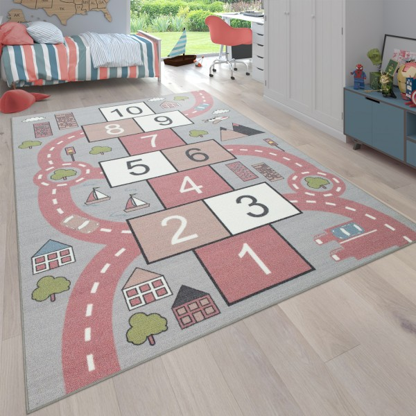 Teppich Für Kinderzimmer Mit Straßen-Motiv Und Hüpfkästchen