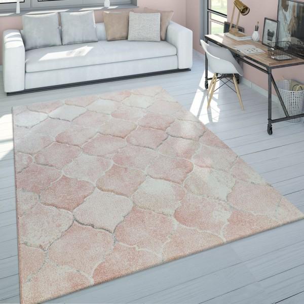 Kurzflor Teppich Wohnzimmer Rosa Pastellfarben Orient Marokkanisches Muster