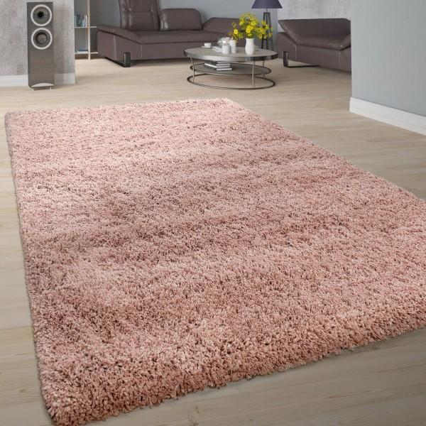 Teppich Wohnzimmer Soft Shaggy Hochflor Modern Flauschig Einfarbig In Rosa