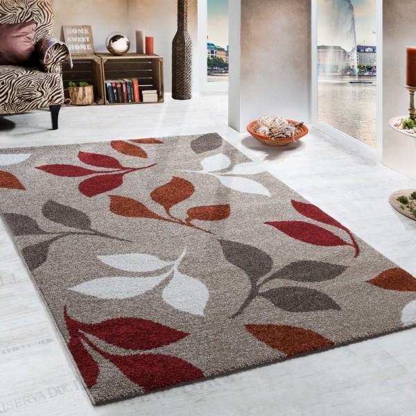 Webteppich Muster Floral Beige Terrakotta Rottöne