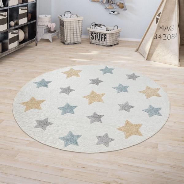 Kinder Teppich Kinderzimmer Rund Spielteppich Sternen