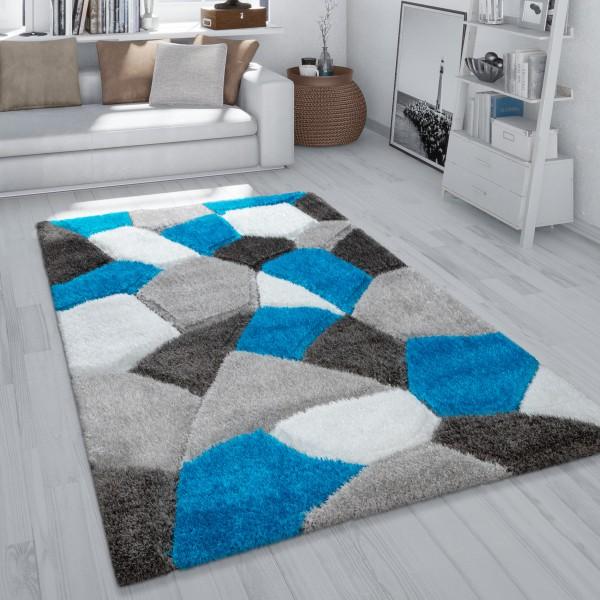Hochflor Teppich Wohnzimmer Shaggy Muster Abstrakt