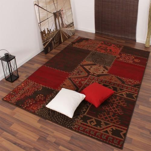 Moderner Designer Teppich Muster Rot Braun Patchwork