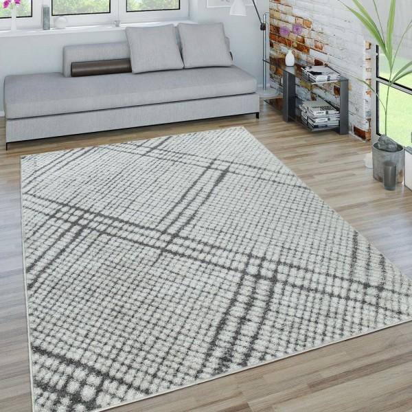 Kurzflor Teppich Wohnzimmer Modern Geometrisches Design Karo In Grau