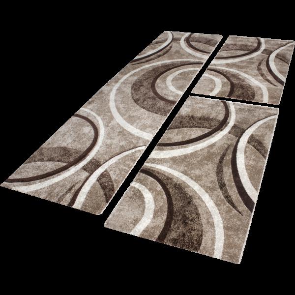 Läuferset Teppich Welle Braun Beige Creme