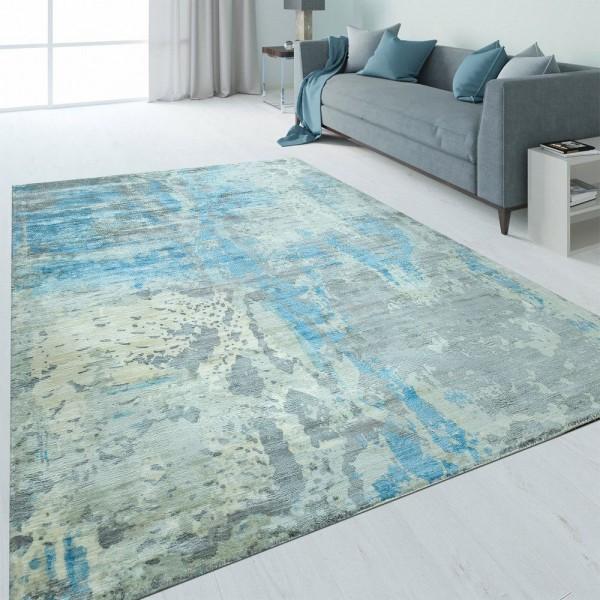 Design Teppich Abstrakt Used-Look Blau