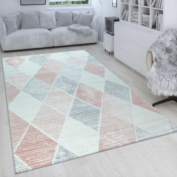 Wohnzimmer-Teppich, Kurzflor Mit Linien Und Rauten-Muster, In Pastell Rosa