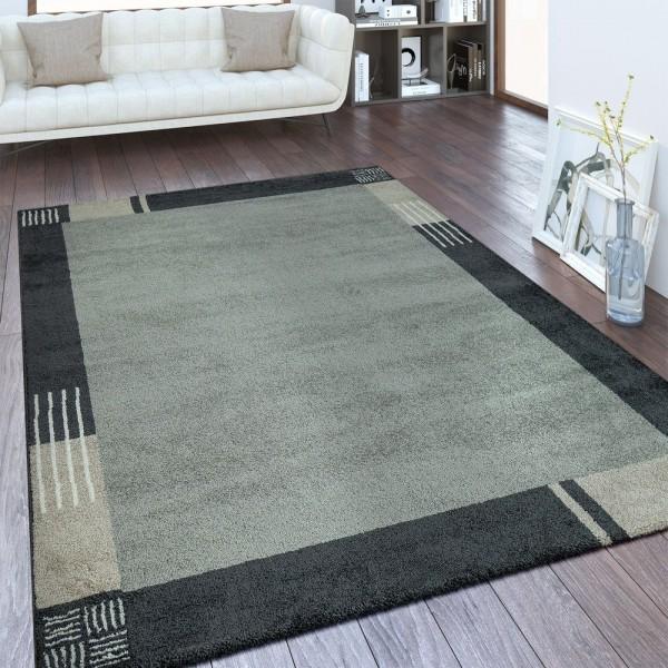 Designer Teppich Bordüre Silber Grau
