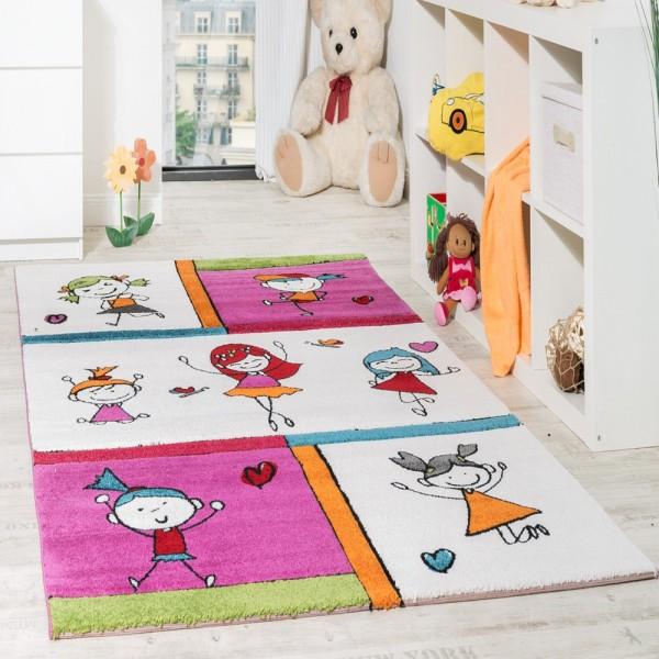 Kinderzimmer Teppich Spielende Kids Kinderteppiche für Mädchen Fuchsia Creme