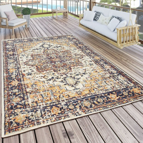 Outdoor Teppich Bunt Beige Orient Design Balkon Terrasse Used Look Robust
