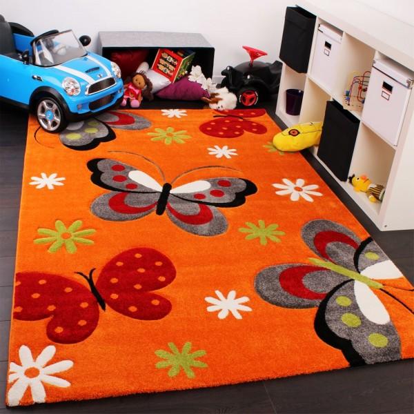 Kinderteppich Schmetterling Muster Kinderzimmerteppich In Orange Grau Grün Rot