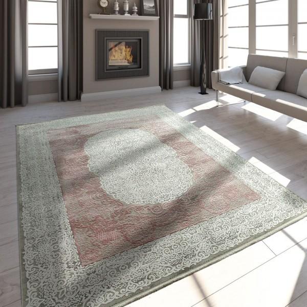 Wohnzimmer Teppich Polyacrylgarn Vintage Look Fransen 3D Klassisch Pastell Rosa Grau
