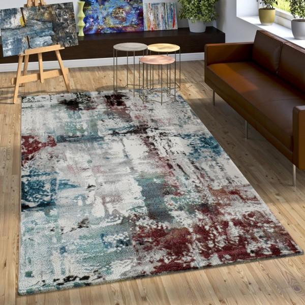 Designer Teppich Modern Leinwand Optik Abstrakt Splash Brushed Türkis Rot Creme