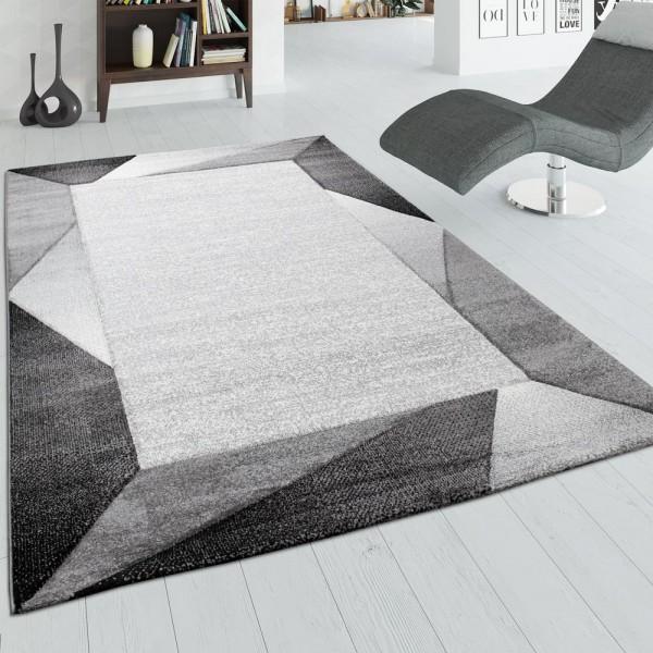 Wohnzimmer-Teppich, Kurzflor-Teppich Mit Bordüre und 3-D-Effekt, In Grau Beige