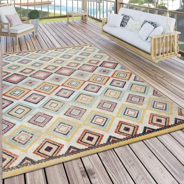 Outdoor Teppich Bunt Balkon Terrasse Ethno Design Rauten Muster Wetterfest