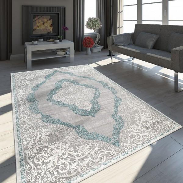 Orient Teppich Modern 3D Effekt Meliert Schimmernd Ornamente In Grau Türkis