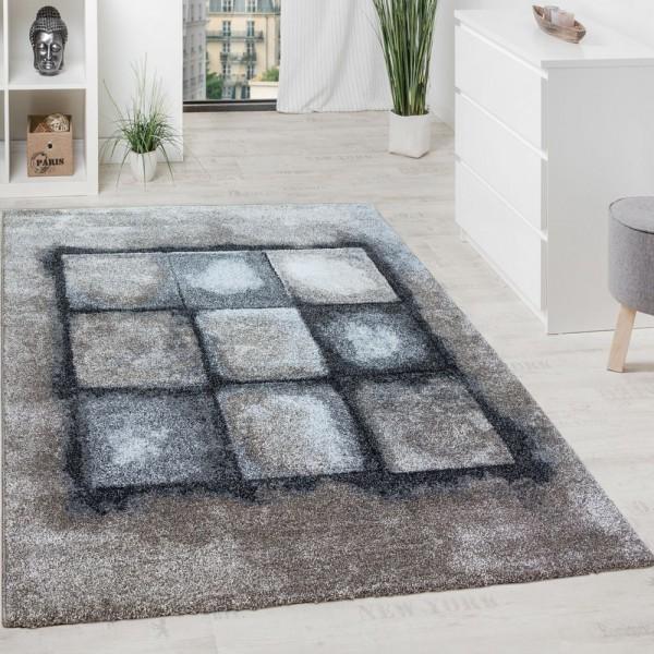 Designer Teppich Wohnzimmer Webteppich Geometrische Muster Webteppich Grau Creme