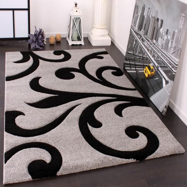 Designer Teppich mit Konturenschnitt Modern Grau Schwarz