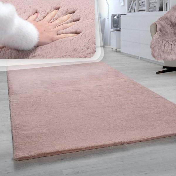 Hochflor-Teppich, Shaggy-Teppich Für Wohnzimmer, Weich Einfarbig, in Rosa
