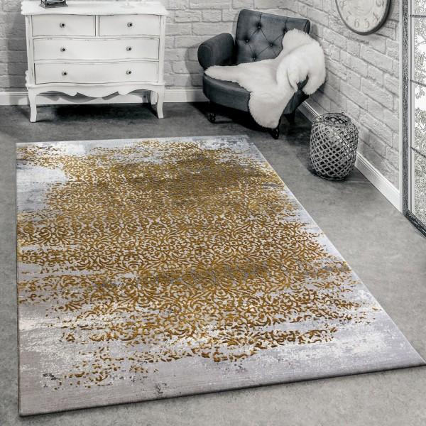 Designer Teppich Modern Wohnzimmerteppich Mit Muster Ornamente Grau Honig-Gelb