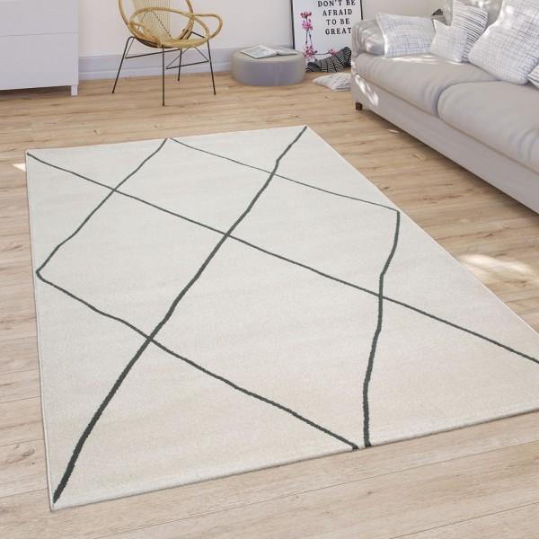 Living Room Rug Modern Scandi Diamond Pattern