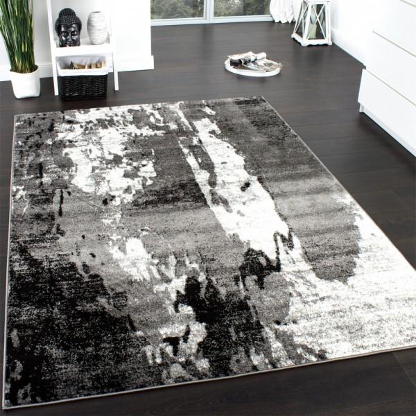 Designer Teppich Modern Meliert Trendiger Kurzflor Teppich Grau Creme Schwarz