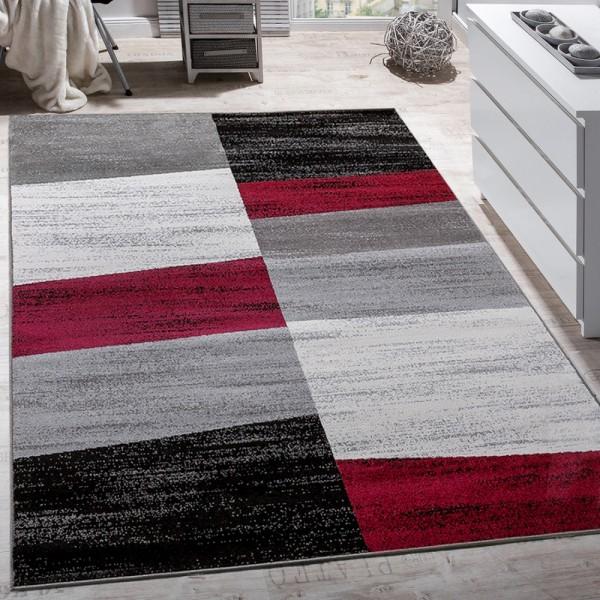 Designer Teppich Modern Abstrakt Optik Kariert Kurzflor Meliert In Rot