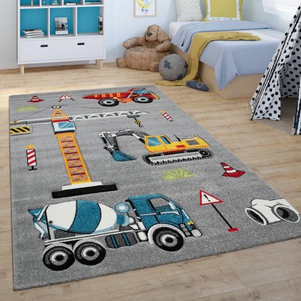 Tappeto per la camera dei bambini, con escavatore e cantiere