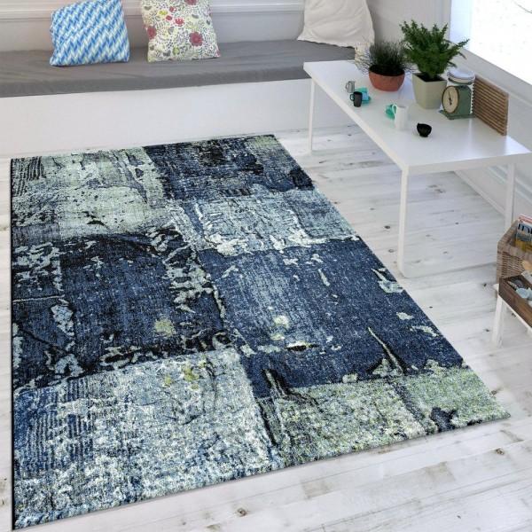 Wohnzimmer Teppich Ölgemälde Optik Indigo Blau Weiß Grau Modern Eyecatcher