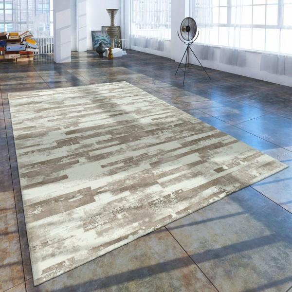 Kurzflor Wohnzimmer Teppich Used Look Mit Naturstein Optik In Beige Creme