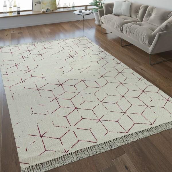 Flachgewebe Teppich Gitter Muster Fuchsia