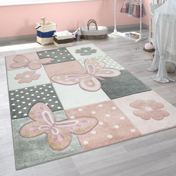 kurzflor kinderteppich kinderzimmer teppich konturenschnitt 3d dekoration modern schmetterling pink weiss grau