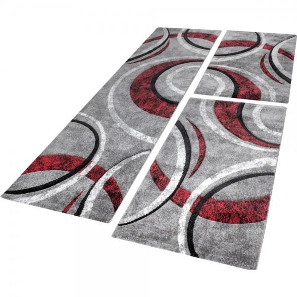 Läuferset Teppich Streifen Modell Grau Rot