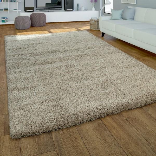 Moderner Hochflor Teppich Hochwertig Kuschelig Weicher Shaggy Einfarbig In Beige