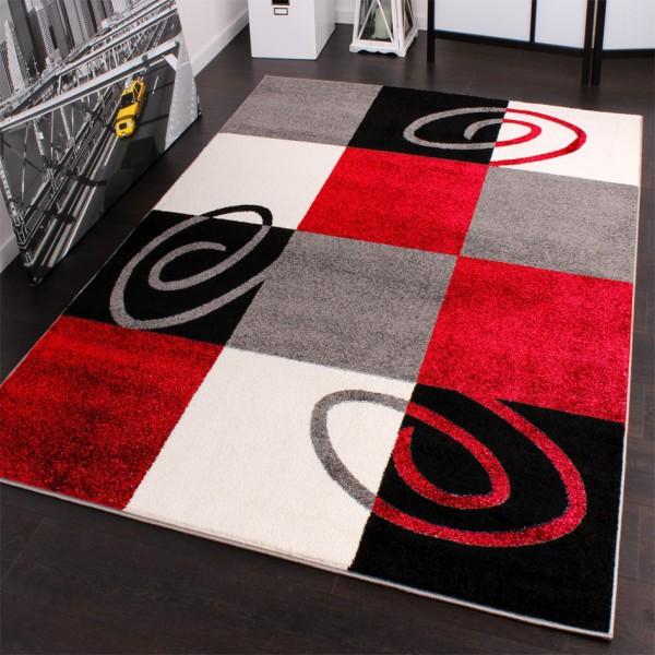 Designer Teppich Karo Model Rot Schwarz Weiss Top Qualität zum Top Preis