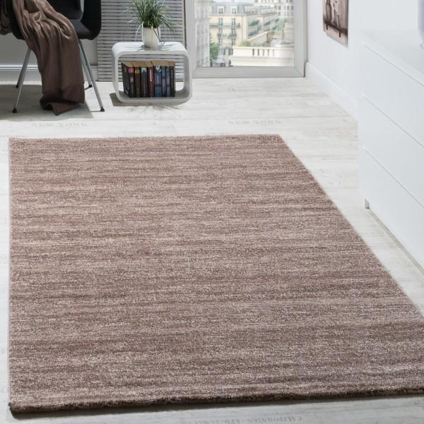 Teppich Kurzflor Modern Gemütlich Preiswert Mit Melierung Braun Creme Beige